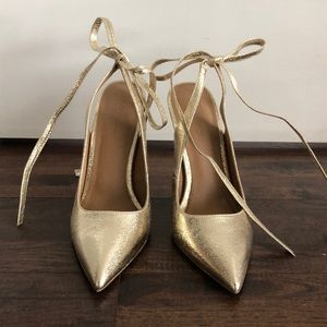 ASOS gold stiletto with tie heel